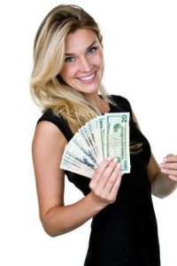 woman with cash